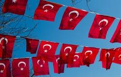 Turecka flaga państowowa w widoku Zdjęcia Stock