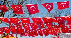 Turecka flaga państowowa w widoku Zdjęcie Royalty Free