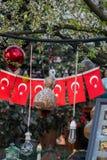 Turecka flaga państowowa w widoku Obraz Stock