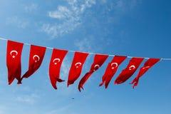 Turecka flaga państowowa w widoku Obrazy Stock