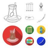 Turecka herbata, amulet, ruiny dawność, mapa terytorium Turcja ustalone inkasowe ikony w konturze, mieszkanie stylowy wektor ilustracja wektor
