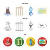 Turecka herbata, amulet, ruiny dawność, mapa terytorium Turcja ustalone inkasowe ikony w kreskówce, kontur, mieszkanie styl ilustracji