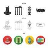 Turecka herbata, amulet, ruiny dawność, mapa terytorium Turcja ustalone inkasowe ikony w kreskówce projektują wektor royalty ilustracja