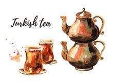 Turecka herbata w tradycyjnym szkle z miedzianym herbacianym garnkiem i Akwareli ręka rysująca ilustracja, odizolowywająca na bia Zdjęcia Royalty Free
