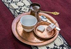 Turecka kawa na talerzu Zdjęcie Royalty Free