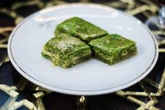 Turecki baklava z pistacjami Fotografia Royalty Free
