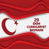 Turecki Krajowy festiwal 29 Ekim Cumhuriyet Bayrami Przekład: Szczęśliwy Października 29th republiki dzień Święto Państwowe w Tur royalty ilustracja