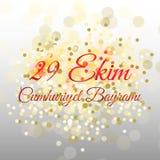 Turecki Krajowy festiwal 29 Ekim Cumhuriyet Bayrami Przekład: Szczęśliwy Października 29th republiki dzień Święto Państwowe w Tur ilustracja wektor