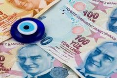 Turecki lir i zły oko Zdjęcia Stock