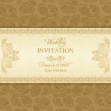 Turecki ogórkowy ślubny zaproszenie, złoto Zdjęcia Stock