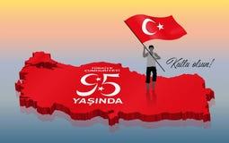 Turecki republika dnia świętowanie z 3D Indyczą mapą obraz stock