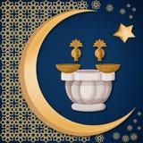 Turecki skąpanie, hamam z groszakiem rzuca kulą z orientalną dekoracją, księżyc i gwiazdą na zmroku, - błękitny tło ilustracji