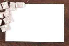 Turecki zachwyt & x28; lukum& x29; ramowy rabatowy tło Odgórny widok Fotografia Royalty Free
