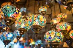Tureckie lampy w Uroczystym bazarze Zdjęcia Royalty Free