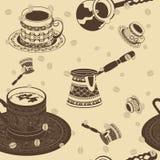 Tureckiej kawy Bezszwowy wzór Zdjęcie Royalty Free