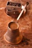 Tureckiej kawy garnek Zdjęcia Royalty Free