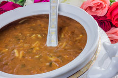 Tureen of Moroccan soup Stock Photo