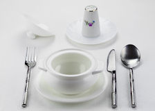 Tureen, salt shaker and cutlery Royalty Free Stock Photo