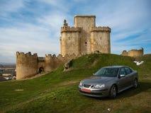 Turegano castle and a car, Castilla y Leon, Spain Royalty Free Stock Image