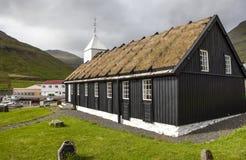 Turf house church Faroe Island, North Atlantic Royalty Free Stock Photo