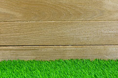 Turf and Old Wood for Background and shelf Display. Artificial Turf and Old Wood for Background and shelf Display stock photo