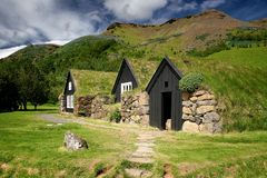 Turf roof houses stock photos
