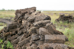 Turf stacked up for the bog winds to dry Royalty Free Stock Photos