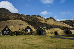 Turf wood houses in a historic village in Iceland Royalty Free Stock Images