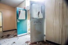 Turfeiland verlaten gebouwen in bederf stock afbeelding