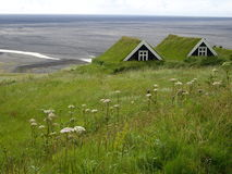Turfhouses, parc national de Skaftafell, Islande Photos stock