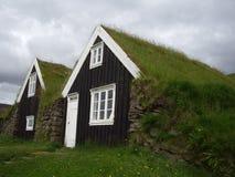 Turfhouses Skaftafell nationalpark, Island Royaltyfri Bild