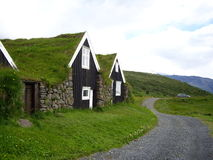Turfhouses Skaftafell nationalpark, Island Royaltyfria Foton