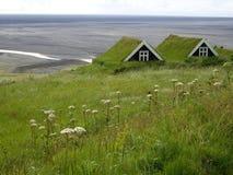 Turfhouses Skaftafell nationalpark, Island Arkivfoton