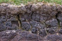 Turfmuur bij het oogsten van plaats dichtbij Inverasdale, NW Schotland Royalty-vrije Stock Foto