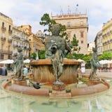 Turia喷泉在巴伦西亚,西班牙 免版税库存照片