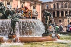 Turia Fountain en Plaza de la Virgen, Valencia, España Fotos de archivo