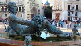 Turia Fountain, Plaza DE La Virgen, Valencia Stock Foto's