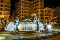 Turia Fountain on Square of the Virgin Saint Mary, Valencia, Spain. stock photography