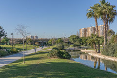 Turia River gardens Jardin del , leisure and sport area, Valencia, Spain Royalty Free Stock Photography