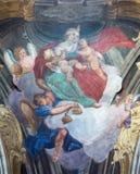 TURIJN, ITALIË - MAART 13, 2017: De fresko van hoofddeugden van Liefde in koepel van Chiesa-della Visitazione Royalty-vrije Stock Afbeeldingen