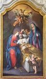 TURIJN, ITALIË - MAART 14, 2017: De het schilderen Dood van St Joseph in kerk Chiesa Di San Francesco door onbekende kunstenaar v Stock Afbeeldingen