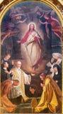 TURIJN, ITALIË - MAART 13, 2017: Het schilderen van Hart van Jesus onder de heiligen in della Visitazione van kerkchiesa Royalty-vrije Stock Afbeeldingen