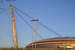 Turijn, Italië, Piemonte - Maart 8 2018 bij 18:15 naar zonsondergang Het Allianz-Stadion in Turijn royalty-vrije stock afbeeldingen