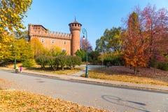 Turijn, Piemonte, Italië, 01 November 2017 Middeleeuws Kasteel in Tur Royalty-vrije Stock Fotografie
