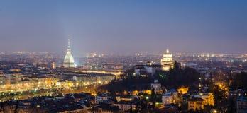Turijn (Turijn), nachtpanorama Royalty-vrije Stock Foto's