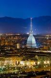 Turijn (Turijn), nachtpanorama Royalty-vrije Stock Afbeelding