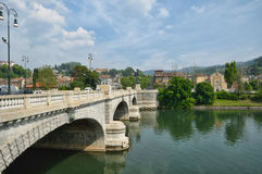 Turin. Bridge in turin through river Po to Basilica di Gran Madre Stock Image