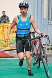 12th upplaga av Turin stadstrofén av triathlonen Arkivbilder
