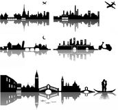 Turin Bologna Tuscany Venice. Composition of five Italian cities represented with simple silhouettes Stock Photo