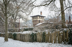 Turin, Borgo Medievale under the snow Stock Photos
